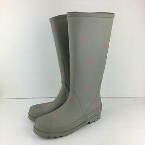 J. Crew Tall Gray Rubber Rain Boots Size 8